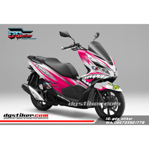 Decal Sticker Honda Pcx New 2018 Lokal Warna putih Pink shark DG Stike