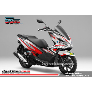 Decal Sticker Honda Pcx New 2018 Lokal Warna putih Merah shark DG Stik