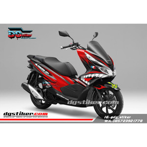 Decal Sticker Honda Pcx New 2018 Lokal Warna Hitam Merah shark DG Stik