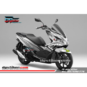 Decal Sticker Honda Pcx New 2018 Lokal Warna putih Monochrome shark DG