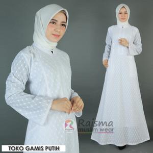 Gamis Putih Katun Jepang Motif Kotak / Baju Gamis Putih / Gamis Putih