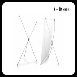 Kerangka Tiang XBANNER Media Promosi Bahan Fiber PVC Putih
