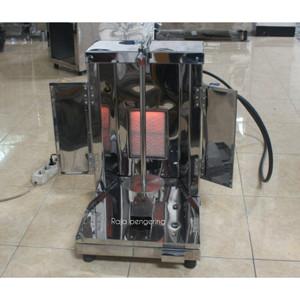 Mesin kebab single burner type gas tiang pemanggang manual.
