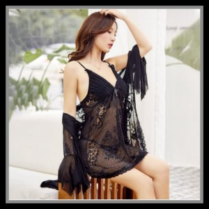 Lingerie Kimono Elegan Baju Tidur Pakaian Dalam 71957155 Black