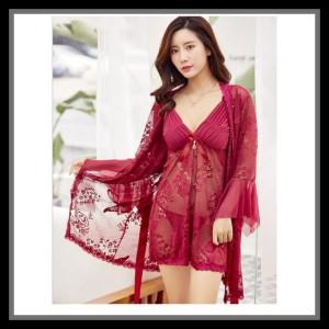 Lingerie Kimono Elegan Baju Tidur Pakaian Dalam 71957155 Maroon