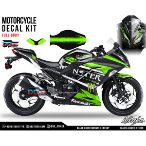 Decal Ninja 250 FI Hitam Hijau Monster Energy DG Stiker