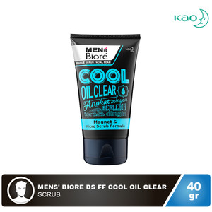 MENS' BIORE Double Scrub Facial Foam Cool Oil Clear 40 gr