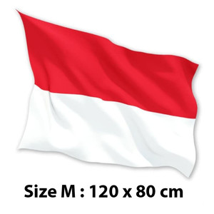 FLASH SALE BENDERA INDONESIA MERAH PUTIH 120 x 80 cm (M) Satin 100%