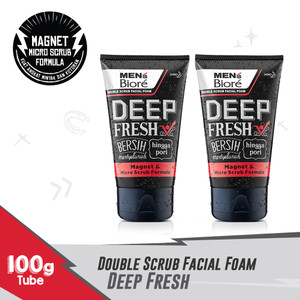 Men'S Biore Double Scrub Facial Foam Deep Fresh 100gr Twinpack
