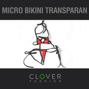 Micro Bikini Transparan Lingerie Transparan Thong G string Bra Set