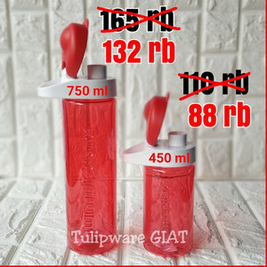 Multi Botol RED Tulipware / Botol Minum Merah Bening Anti Tumpah