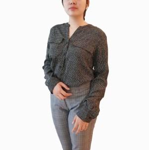H&M Blouse Shirt Motif Black Pakaian Wanita Branded Original Murah