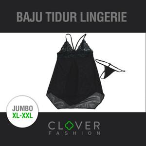 Lingerie Jumbo Sexy Big Size XL-XXL Babydoll Black Seserahan + Gstring