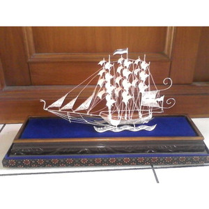 Miniatur Kapal Konstitusi Silver Khas Kotagede Yogyakarta