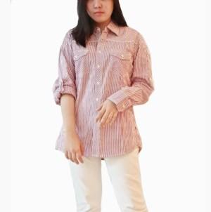 Baju Kemeja Panjang Wanita Floza Strip Red Pakaian Branded Original