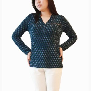 Blouse V-Neck Green Jaclyn Smith Pakaian Branded Wanita Orignal Murah