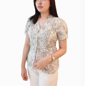 Creme Kemeja Pendek Motif Floral Pakaian Wanita Branded Original Murah