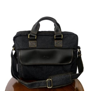 Lomberg Briefcase Black - Tas Selempang Denim - Hitam