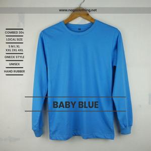 Kaos Polos Biru Baby Lengan Panjang 100% Cotton Combed 30s Reaktif