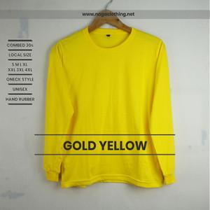 Kaos Polos Kuning Kenari Panjang 100% Cotton Combe 30s Reaktif Polosan
