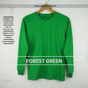 Kaos Polos Hijau Fuji Panjang 100% Cotton Combed 30s Reaktif Baju Pria