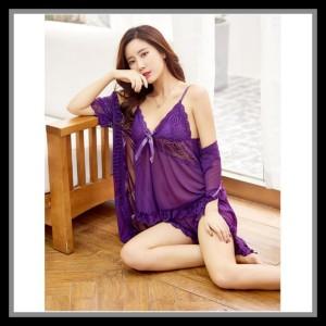 Lingerie Kimono Elegan Baju Tidur Pakaian Dalam 71914162 Purple