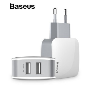 Baseus 2 USB EU Charger Plug 5V 2.4A Dual USB Port Travel Wall Charger