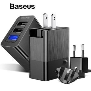 Baseus 3 Port USB Charger Adapter 3-in-1 Replaceable Plug Protable