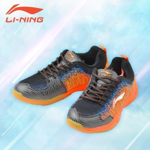 Li-Ning ION II Super Light Badminton Sport Shoes - Black Orange