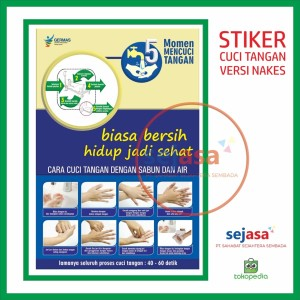 Jual Stiker 5 Momen Cuci Tangan Dan Cara Cuci Tangan Versi Nakes Kab Sleman Syafana Tokopedia