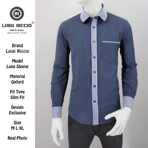 New Kemeja Fashion LUIGI RICCIO Katun Oxford Navy blue - ,