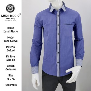 [Best Quality]Kemeja Casual Katun Oxford LUIGI RICCIO - Ungu, XL