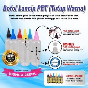Botol Plastik PET Model Lancip Tutup Warna 250 ML