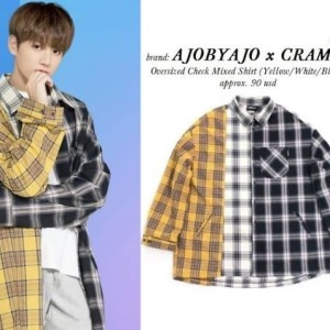 JUNGKOOK SUGA AJOBYAJO X CRAM IT Oversized Check Mixed T-Shirt