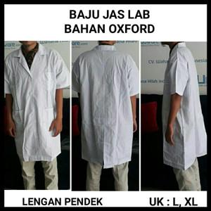 Baju Laboratorium Bahan Oxford Lengan Pendek size L | Jas Lab Putih