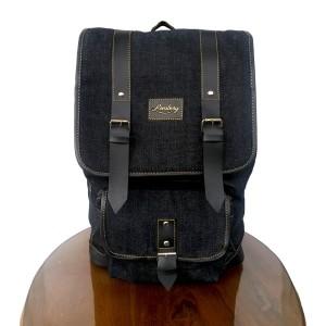Lomberg Malacca Black - Tas Denim Ransel Backpack - Hitam