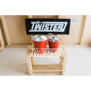 Team Raffee Co. Realistic Red Metal Bucket Small & Large - 2pcs