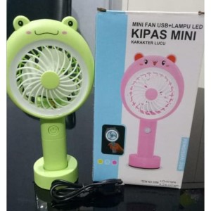KEROPPI KIPAS ANGIN PORTABLE / STANDING MINI FAN LAMPU LED KARAKTER