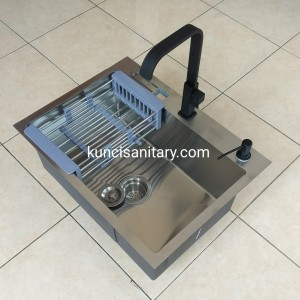Paket kitchen sink Bolzano 60 x 45 kran soap dispenser hitam