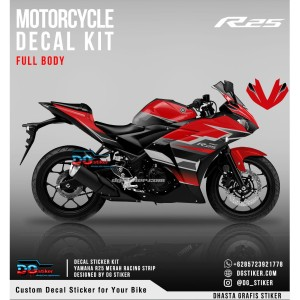 Decal Sticker R25 Merah Racing Strip DG Stiker