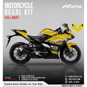 Decal Sticker R25 Kuning Racing Strip DG Stiker