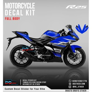 Decal Sticker R25 Biru Racing Strip DG Stiker
