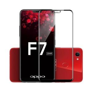 Tempered Glass Full Cover For Oppo F7 - Black