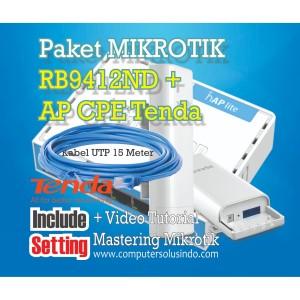 Paket BTS Hotspot Mikrotik RB941ND Dgn Ap Outdoor CPE Tenda O3