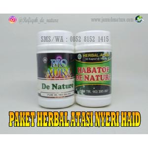 Obat Herbal Atasi Nyeri Haid/Menstruasi BIO AURA + HABATOP De Nature