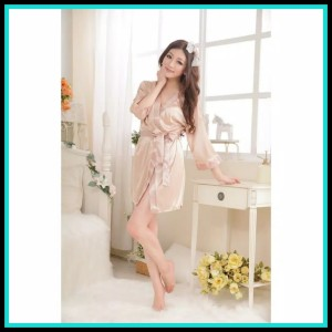 Kimono Satin Sleepwear Pakaian Dalam KMN 16 Cream