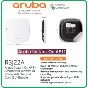Aruba R3J22A Instant On AP11 (RW) Indoor AP with DC Power Adapter Cord