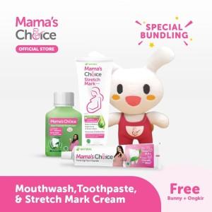 Paket Pasta gigi, Mouthwash,Stretch mark cream Mamas choice +free gift