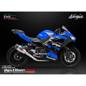 Decal Sticker New Ninja 250 FI Hitam Biru Simpel DG Stiker