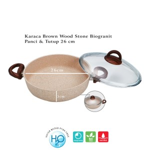 Karaca Brown Wood Stone Biogranit Panci + Tutup 26 cm